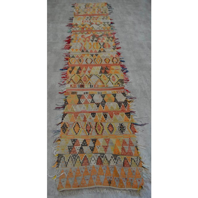 Boho Chic Antique Handmade Turkish Tribal Runner - 2′6″ X 13′2″ For Sale - Image 3 of 10