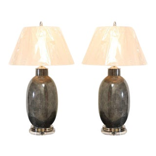 Killer Pair of Faux-Shagreen Ceramic Lamps in Charcoal For Sale