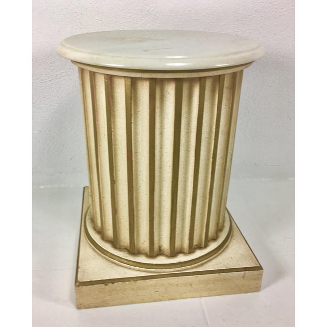 Gold White Carrera Top Column Side Table For Sale - Image 7 of 10
