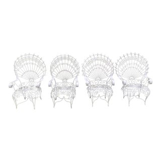 Vintage Salterini White Peacock Chairs - Set of Four For Sale