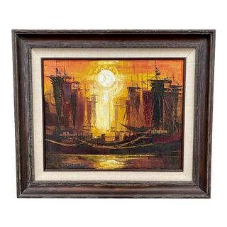 1970s Modernist Naval Scene Oil Painting by Roald Hansen, Framed For Sale