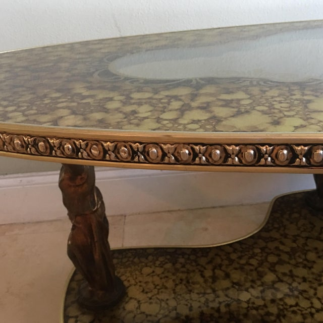 Figural Hollywood Regency Art Deco Gold Marbled Mirror Coffee Table - Image 9 of 9