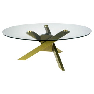 1970s Geometric Brass Tripodal Coffee Table For Sale