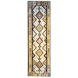Early 20th Century Persian Zarand Kilim Geometric Diamonds Runner - 3′10″ × 14′7″ For Sale