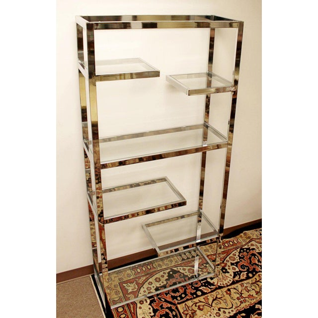 Milo Baughman Mid-Century Modern Milo Baughman Chrome & Glass Shelves Etagere 1970s For Sale - Image 4 of 8