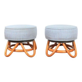 Hollywood Regency 1950's Pair of Swivel Low Stools For Sale