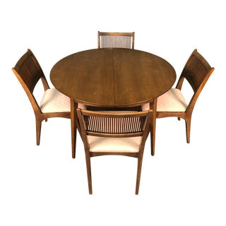 John Van Koert for Drexel Profile Mid-Century Dining Table W/6-Chairs & Table Pads For Sale