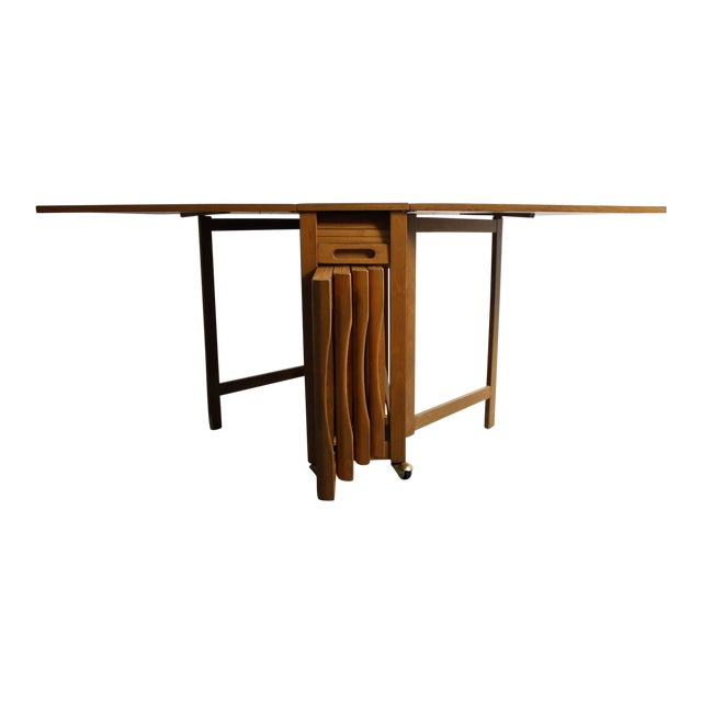 Mid-Century Drop Leaf Hideaway Table With 4 Chairs For Sale