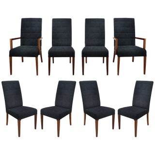 Medea 'Italy Rosewood and Suede Dining Chairs, Set of Eight For Sale