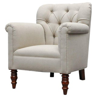 """Geffrey"" by Lee Stanton Chair Upholstered in Belgian Linen or Custom Fabric For Sale"