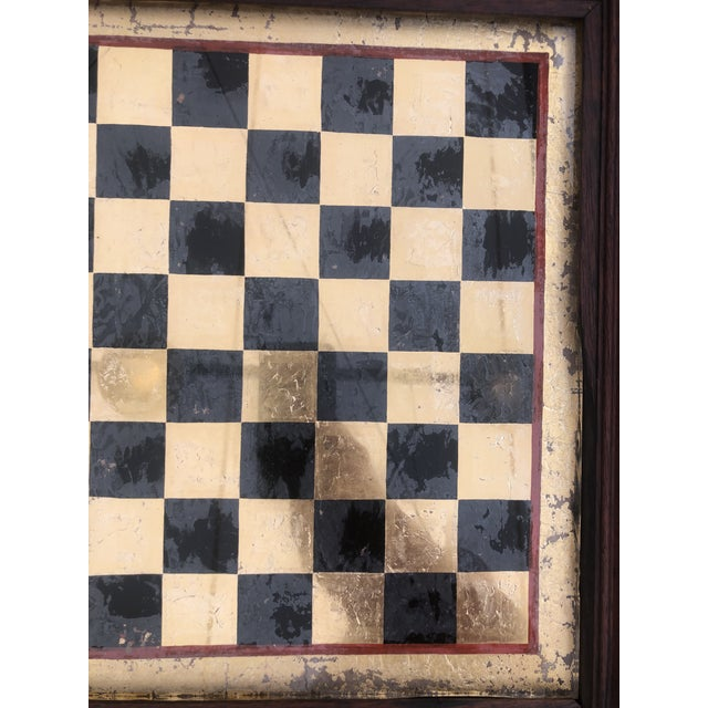 Americana Early 20th Century Reverse Painted Gold Foil Checkers/Chess Game Board For Sale - Image 3 of 7