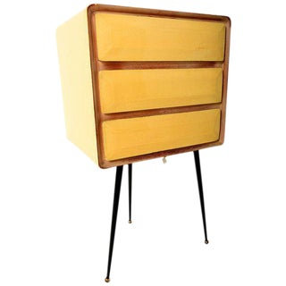 1950s Mid-Century Modern Yellow File Cabinet For Sale
