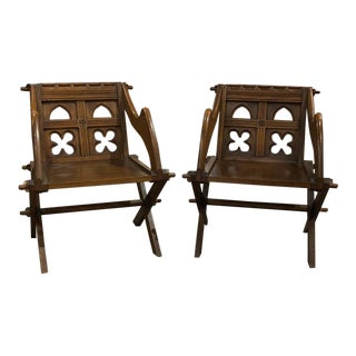 1900s Vintage Oak Arts and Crafts Chairs- A Pair For Sale