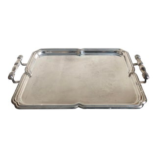 1950s Vintage Silver Plate Serving Tray For Sale