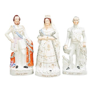 Three 19th Century Staffordshire Pottery Figures of Large-scale For Sale