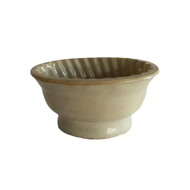 Farmhouse Antique Tan Stoneware Pudding Jello Kitchen Mold For Sale - Image 3 of 5