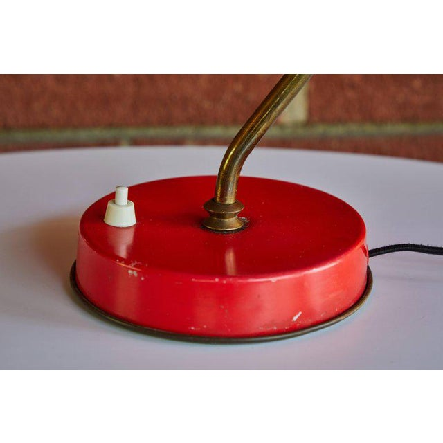 1950s Mid-Century Modern Boris Lacroix Red Table Lamp For Sale - Image 9 of 12