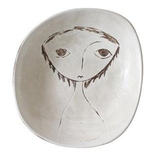 Vintage Weg Pottery Ceramic Dish Plate Face Figure Mid Century Pottery