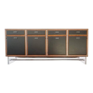 Lucite, Leather and Chrome Credenza For Sale