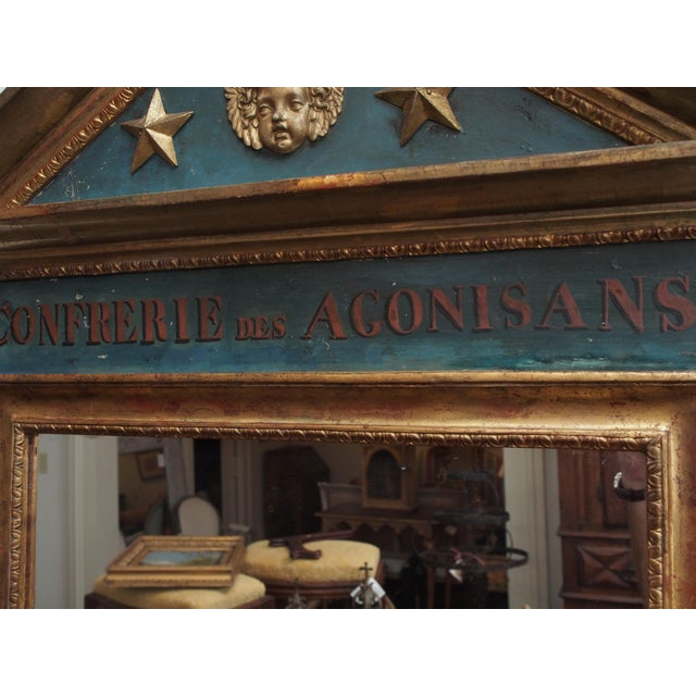 Blue Polychrome and Gilt Pediment Form Mirror For Sale - Image 8 of 8