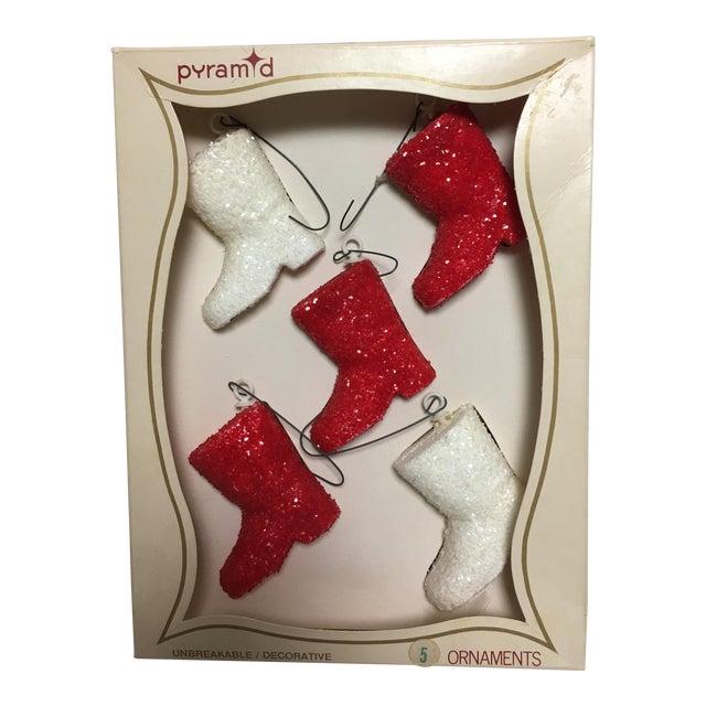 Vintage Glitter Santa Boots Christmas Ornaments - Set of 5 - Image 1 of 6