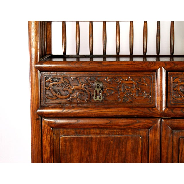 Antique Chinese Solid Wood Fretwork Cabinet & Shelves For Sale - Image 4 of 5