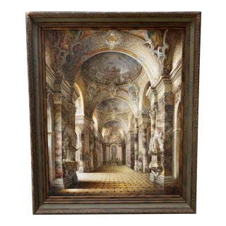 Large Framed Oil Painting of Italian Cathedral by Steven Ives, 5' W X 6' H For Sale