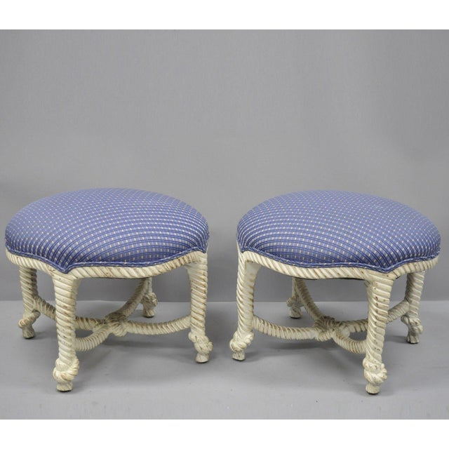 Late 20th Century Vintage Italian Hollywood Regency Rope & Knot Carved Wood Napoleon III Stools- A Pair For Sale - Image 9 of 9