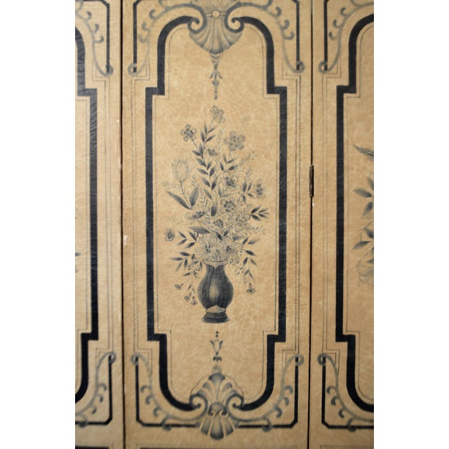 19th Century para-vent, screen, hand painted with floral design in nave blue and a beige parchment paper. It is in...