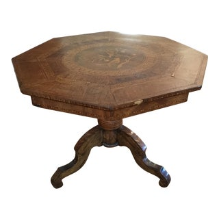Continental Marquetry Inlaid Side Table For Sale
