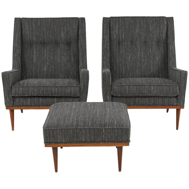 Pair of Milo Baughman for James Lounge Chairs and Ottoman For Sale