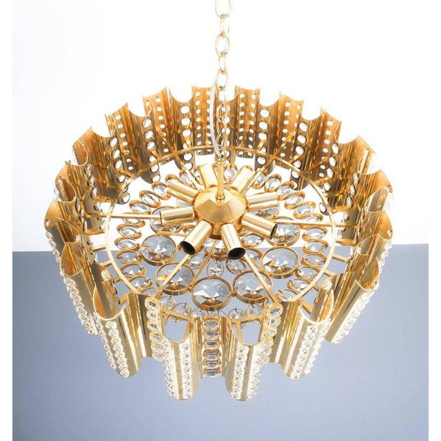 Large Gold-Plated Brass Glass Chandelier Lamp Attributed to Gaetano Sciolari For Sale - Image 4 of 9