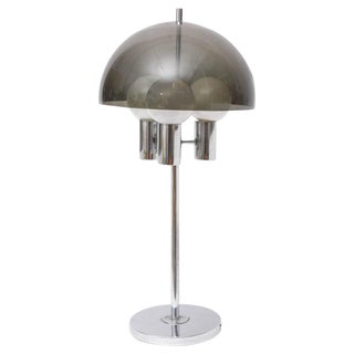 Chrome and Smoked Lucite Tall Table Lamp, 1960s, Usa For Sale