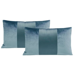 "12""x18"" Cerulean Blue Velvet & Silk Panel Lumbar Pillows - a Pair For Sale"