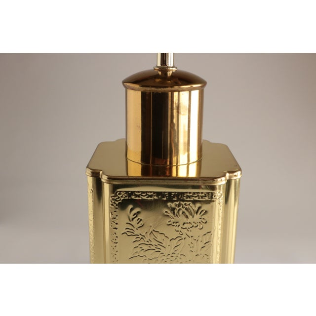 Asian Chinoiserie Embossed Brass Lamp For Sale - Image 4 of 6