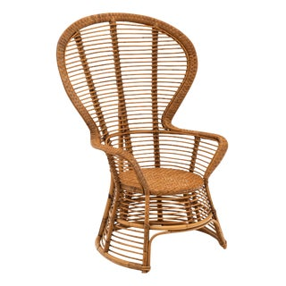 Vintage French Wicker Armchair For Sale