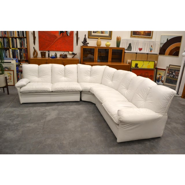 Contemporary Nicoletti Salotti Italian White Leather 3 Pieces Sectional Sofa For Sale - Image 3 of 6