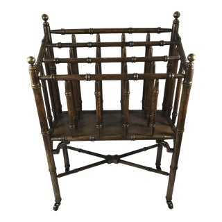 Chinese Chippendale Faux Bamboo Magazine Rack For Sale
