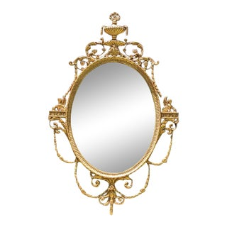 Late 20th Century Gold Gilt Oval Mirror by Friedman Brothers For Sale