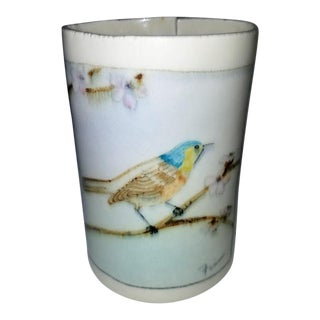 1980s Handmade Ceramic Vase With Bird Picture For Sale