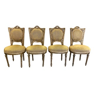 Set of 4 Antique Louis XVI Gilt-Wood Salon or Dining Chairs For Sale