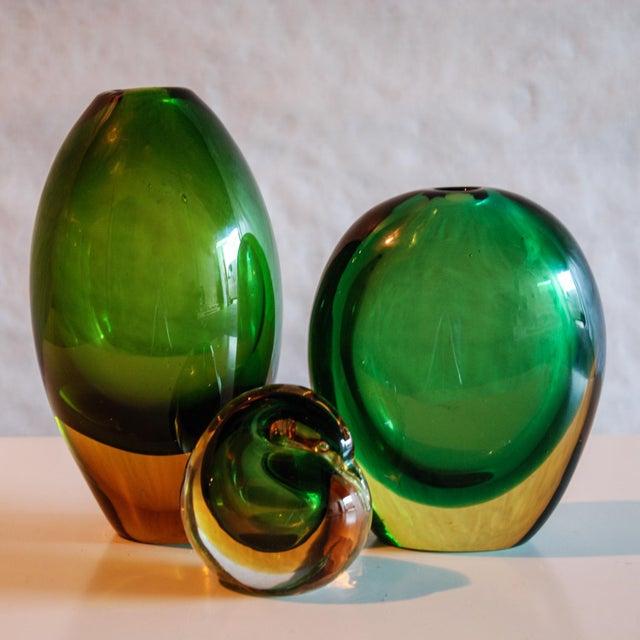 Italy Circa 1950 A fine Flavio Poli summerso vase in green and yellow glass for Seguso Vetri d'Arte. I show three vases...