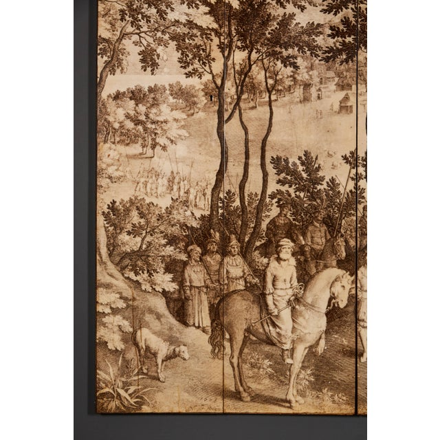 Mid-Century Modern Four-Panel Screen in the Manner of Fornasetti For Sale - Image 3 of 9