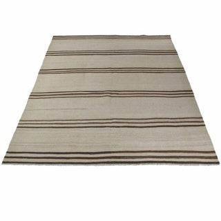 Cream and Brown Vintage Hemp Kilim - 5' x 6' For Sale