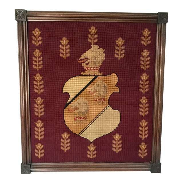Antique Framed Needlepoint Shield For Sale