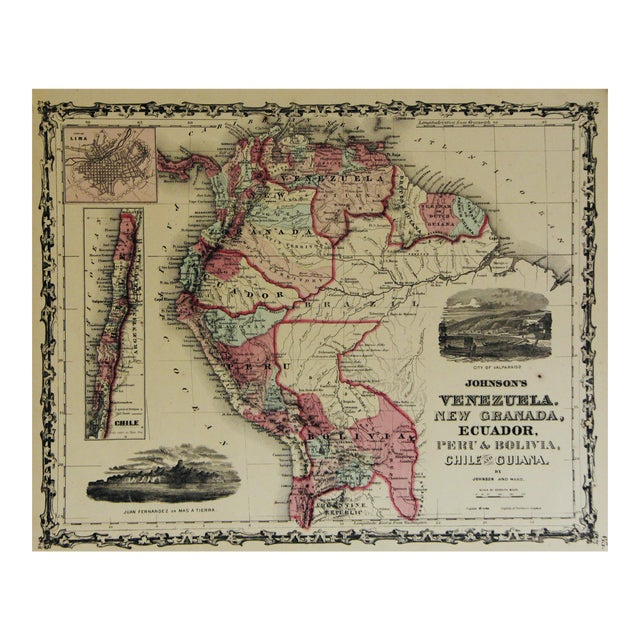 Vintage South America Map For Sale
