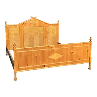 Vintage Mid-Century Modern Baker Faux Bamboo Bed For Sale