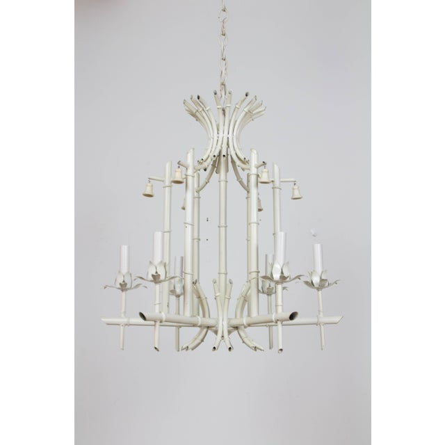 Mid 20th Century White Tole Bamboo Chandelier For Sale - Image 4 of 7