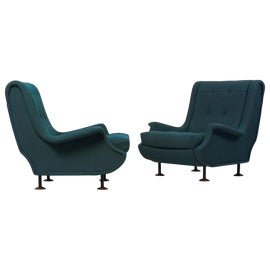 Image of Dark Green Lounge Chairs