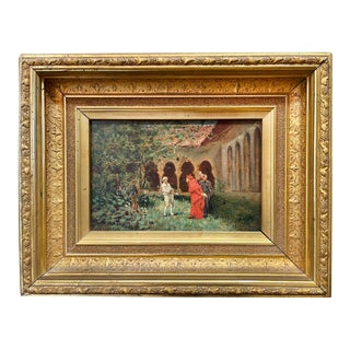 """Mid 19th Century """"Cardinal and Bishop in a Cloistered Court"""" Oil Painting by Charles Edouard Edmond Delort, Framed For Sale"""